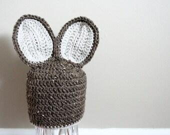Brown Bunny Hat, Bunny hat, Easter Bunny Hat, Bunny Ears, Crochet Bunny Ears, Baby Bunny Hat, Baby Rabbit Hat, Newborn Photo Prop