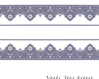 NEW Arabesque Border Washi Tape - Wide 45mm x 5m - Navy Blue Moroccan Tile Motif - Floral and Geometric Design - Decoration Frames Borders
