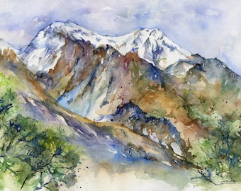 Watercolor  New Zealand Art Mountains Glenorchy Gift for Hiker Mountain Home Decor Original Painting