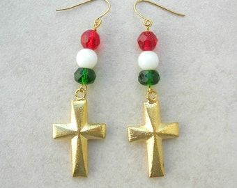 Gold Cross Earrings, Mexican-Inspired, Florentined Gold Crosses, Mexican Flag Colors-Red/Green Crystal & White Jade Beads, by SandraDesigns