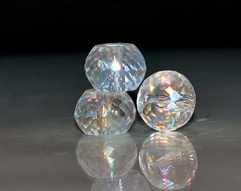 4 pcs 12x9mm Transparent Clear AB Multi-Faceted Rondelle Crystal Beads. CAB