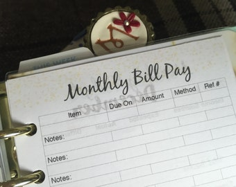Monthly Bill Tracker Planner Insert (Filofax Personal/Kikki K Medium size)