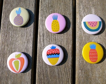 Set of 6 magnets 38 mms 'Tutti Frutti'