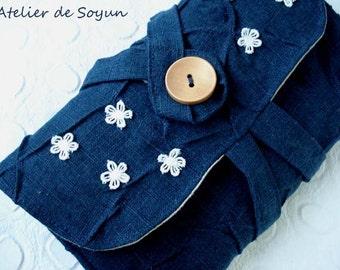 Crochet Hook Case Crochet Hook Holder Needle Case Craft Bag in Textured Dark Blue