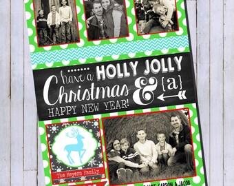 Photo Christmas Card | Chevron Chalkboard | Photo Holiday Card | Digital Christmas Card {P14}