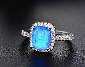 18kt White Gold Micro Pave Blue Fire Opal Ring