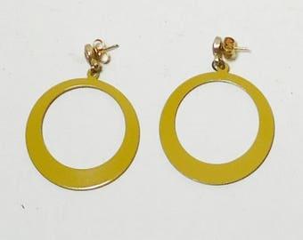 Mustard Yellow, Hoop Earrings, Drop Hoop, Cut Out, Hippie Earrings, Boho Earrings, Yellow, Earrings, Never Worn, Vintage Costume Jewelry