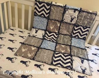 Custom Rustic & MOD Deer Palette Arrows and Woodgrain Boutique Designer 2 Piece Crib Bedding Set MADE To ORDER