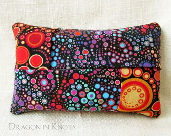 To Go Tissue Holder for backpack, handbag, or pocket - Multicolor Rainbow Bubbles on Black cotton Fabric Travel Facial Tissue Case