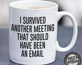 I Survived Another Meeting That Should Have Been an Email Mug, Boss Mug, Funny Slogan Gift, Coffee - Tea Mug