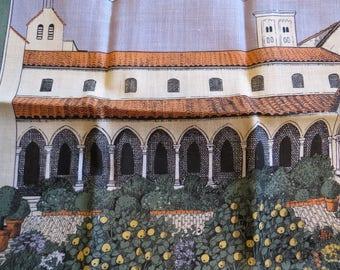 Vintage Italian Villa Scene Metropolitan Museum of Art  MMOA Printed Linen Tea Towel Dishtowel Unused Condition