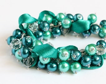 Teal Turquoise Cluster Bracelet and Earrings Set