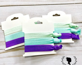 Mint, Teal and Purple  Hair Tie Set