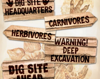 Dinosaur Dig Excavation Party Sign Decor, A3 size, Instant Download, Print your own