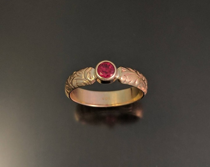 Ruby engagement ring 14k yellow gold natural Madagascar blood red Ruby ring made to order in your size Victorian floral pattern band ring
