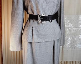 Gorgeous 1980's Christian Dior The Suit Black & White Shoulder Pads Tweed 1980's 2 pc Skirt Suit sz 14
