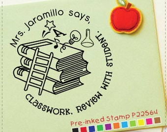 Books Stamp (Pre-inked Stamp) Teacher Stamp, Back to School, Classroom Stamp, This book belongs to, Address Stamp, Sign & return (P22564)