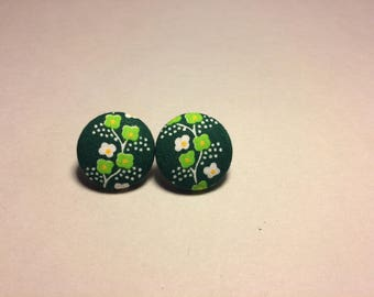 Tiny Green White Earrings, Green and White Mini Flowers in a Row on Dark Green Fabric, St. Patrick Earrings