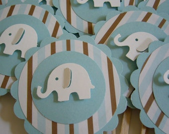 Elephant Cupcake Toppers - Blue, White and Brown - Boy Baby Shower Decorations - Boy Birthday Party Decorations - Set of 12