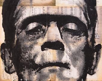 11x17 Frankenstein print of an IKONIC Arts hand painted original