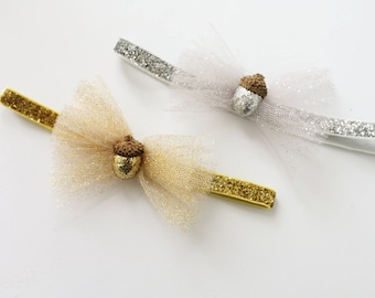 Fall Fabulous - gold and silver tulle acorn bow newborn baby headband