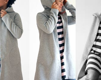 Women clothing, women hooded cardigan, women hooded jacket, long sweatshirt with hood, women jackets, organic cotton fleece, made in Italy