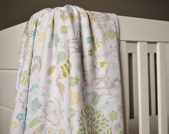 Crib Blanket Woodland Animals - Crib Blanket - Baby Blanket - Minky Blanket - Woodland Crib Blanket - Woodland Baby Bedding - Baby Bedding