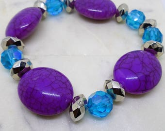 Blue, Purple, and Silver Beaded Stretchy Bracelet.