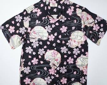 Japanese Wagara Fashion Skulls Punk Rock Rockabilly Skeleton Hawaii Classic Script Sakura Skull Polo Hawaiian Aloha Shirt ( Size: M ) AH07