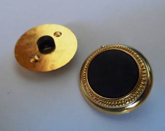 2 buttons shank plastic 19 mm round black and gold