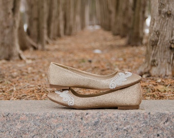 Gold Wedding Flats,Rose Gold Flats,Wedding Shoes,Gold Ballet Flats,Sparkle,Bridesmaid,Bridal Shoes,Gold Bridal Flats, Shoes with Ivory Lace