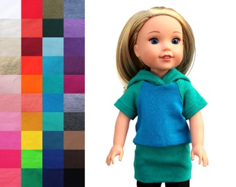 Fits like Wellie Wishers Doll Clothes - Raglan Hoodie, You Choose Colors   14.5 Inch Doll Clothes