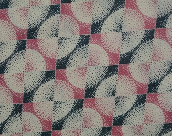 Cotton fabric Art Deco geometric Denyse Schmidt FreeSpirit cotton voile fabric Greenfield Hill Coterie pink black apparel fabric Free Spirit