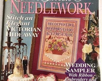 APRILSALE Cross Stitch & Needlework, June, 1996, Wedding Sampler, Vintage, Counted Cross Stitch, Magazine