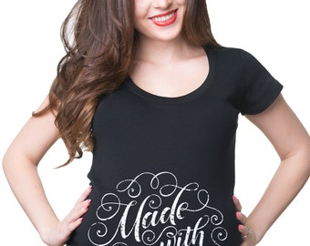 Pregnancy Top Made With Love Maternity T-Shirt Baby Announcement Top