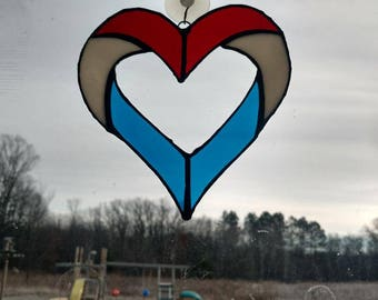 Stained Glass Red, White and Blue Patriotic Heart Suncatcher