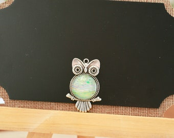 20mm Silver and Glass Owl Pendant Necklace #52 Multicolored