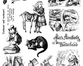 Full Sheet Red Rubber Stamps Alice in Wonderland #2 designs