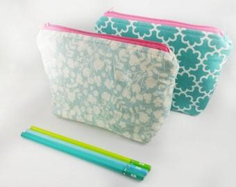 FLOWER DESIGN Cool Color Cosmetic bag | Travel Size bag | Zipper Pouch | Makeup bag