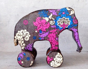 Nursery decor, elephant, Baby shower rustic home decor Ethnic tribal bright pattern, wooden elephant