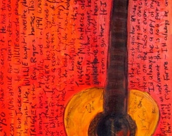 Country Music| Guitar | Iconic Guitar Art. Willie Nelson Martin Acoustic guitar. Trigger art print. 11x17 Guitar Art. Acoustic Guitar.