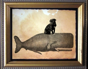 Black Pug Riding Whale - Vintage Collage Art Print on Tea Stained Paper -  dog art - dog gifts - mother's day gift