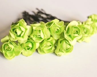 Bridal Hair Accessories, Pistachio Green  Rose, Green flower Hair Bobby Pins- set 12