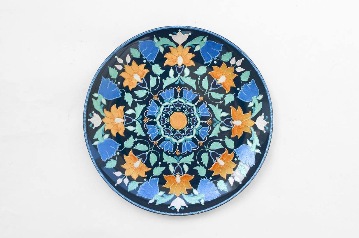 Blue Decorative Wall Plates Extraordinary Dark Blue Decorative Plate Spring Blossom Bohemian Decor Decorating Inspiration