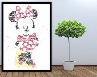 Personalised Word Art Gift Framed Print Disney Minnie Mouse Girls For Her Birthday Christening Special Friend