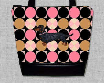 Dachshund Purse - Appliqued Dachshund Handbag - Wiener Dog  - Purse - Shoulder Bag - Made to Order