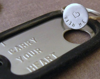 Military Stainless steel dogtag and sterling ring set (intertwine)