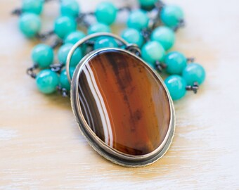 Sardonyx Necklace, Amazonite Necklace, Sterling Silver Statement Necklace - Of Wind and Sand