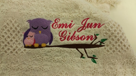 Sweet Owl Embroidered Afghan with name, Momma Owl and Baby Owl Afghan,  New Baby Embroidered Gift,  Baby Shower Personalized Throw