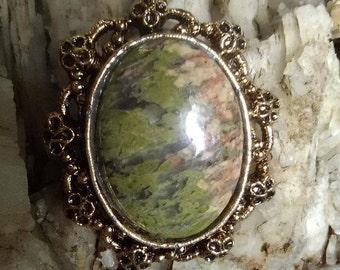 Green Agate Brooch Pendant
